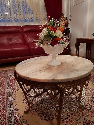 Antique Brass Marble top coffee table.