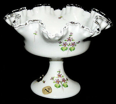 Fenton Violets in the Snow Footed Large Compote