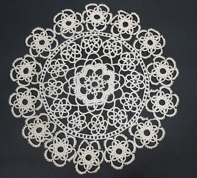 "9"" Antique Vintage CREAM COLORED Tatted Lace Doily, Tatting - Vintage"