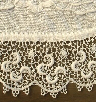 "BEAUTIFUL!  25"" Antique Round WHITE Embroidered Linen/Lace NEEDLELACE Doily"