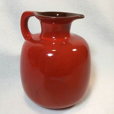 "Vintage Frankoma Pottery 6"" Vermilion Orange Honey Pitcher/ Jug  # 833"