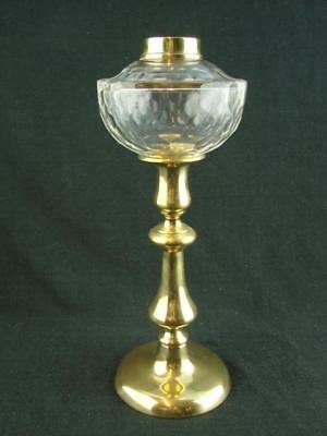Gorgeous Victorian Cut Crystal Peg Oil Lamp Font With Brass Candlestick