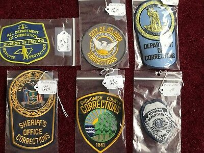 Lot Of 6 Police Sheriff Correction Patches / New / Unused