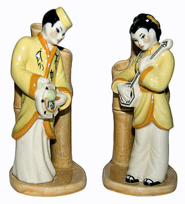 Ceramic Arts Asian Boy & Girl Bamboo Bud Vases with Orange & Yellow Outfits