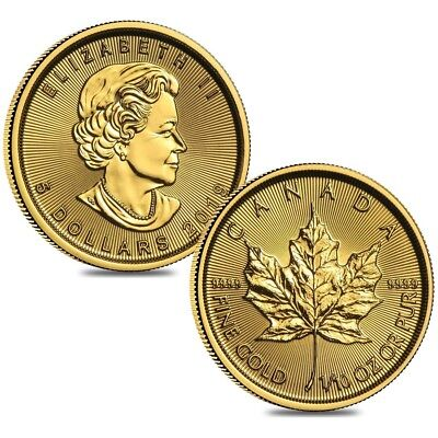 Lot of 2 - 2019 1/10 oz Canadian Gold Maple Leaf $5 Coin .9999 Fine BU (Sealed)
