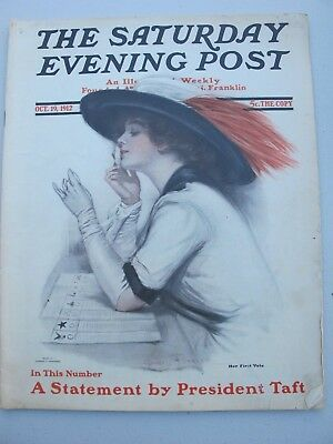 1912 October 19 THE SATURDAY EVENING POST MAGAZINE - Woman's First Vote Cover