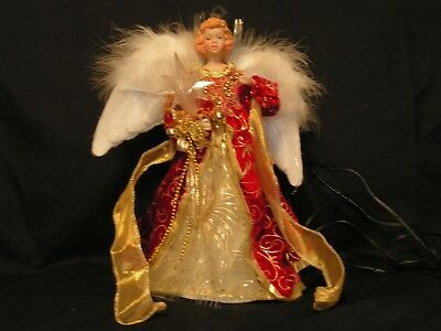 Fiber Optic Red & Gold Tree Top Angel With Feather Wings