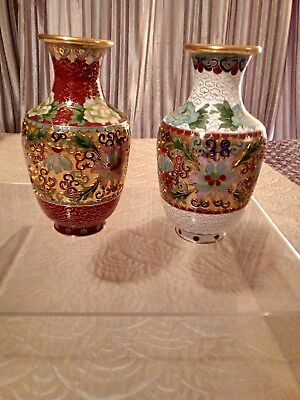 Pair of Chinese Japanese Enamelled Cloisonne vases