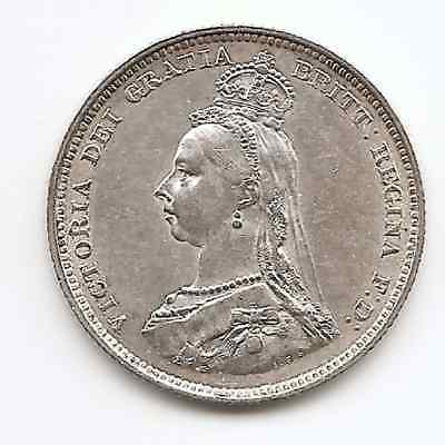 Great Britain 1887 Queen Victoria Shilling With Die Crack`s