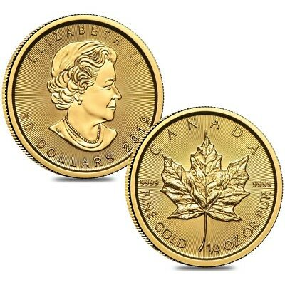 Lot of 2 - 2019 1/4 oz Canadian Gold Maple Leaf $10 Coin .9999 Fine BU (Sealed)