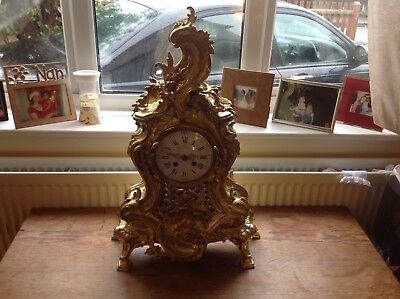 Stunning French Antique Pierced Brass Mantel Clock, Absolutely stunning.