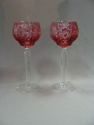 Other Bohemian/czech Art Glass Art Glass Pair Of Bohemian Cranberry Cut To Clear Wine Hock Goblets Etched Star Design