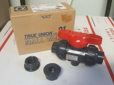"ASAHI AV PVC/EPDM TU B VLV 1/2""SXT 230PSI Type 21 True Union Ball Valve REDUCED!"