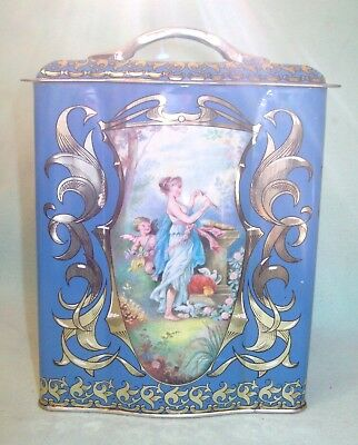 Vintage MADE IN ENGLAND tin litho box CHERUB ANGEL CUPID GODDESS    perty!