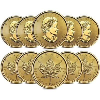 Lot of 10 - 2019 1/2 oz Canadian Gold Maple Leaf $20 Coin .9999 Fine BU (Sealed)