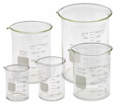 Corning Pyrex 1000-PACK Beaker Set - 5 Sizes, 50, 100, 250, 600, 1000ml