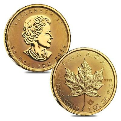 Lot of 2 - 2019 1 oz Canadian Gold Maple Leaf $50 Coin .9999 Fine BU