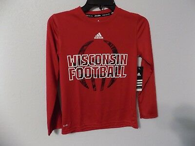 Adidas Climalite Wisconsin Badgers Football Red Long Sleeve Dri-Fit Youth S  (8) e33eb88a0