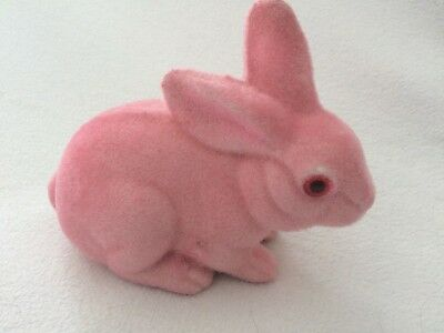 """PINK Vintage Easter Fuzzy Flocked Bunny Rabbit CHILD'S Bank 5"""" tall CUTE"""