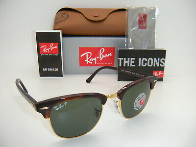 c014b41a6e7 Ray-Ban Authentic Clubmaster 3016 990 58 Havana   Frame Green Polarized 49mm