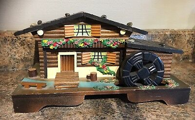 Vintage Lg. Swiss Chalet Music Box with Rotating Water Wheel Music Plays Japan