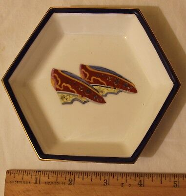 """Vintage Asianera Hand Painted Porcelain Dipping Sauce Dish 5 1/8"""" Shoes"""