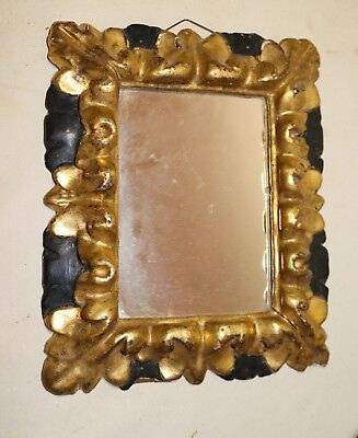 antique 19th century ornate hand carved Rococo gold leaf gilt wood wall mirror