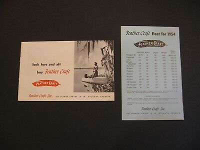 1954 Feather Craft Boat Sales Brochure Catalog Flyer Vintage Row Boat Price List