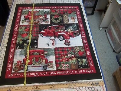 RED TRUCK COLLAGE Christmas Susan Winget Large Cotton Fabric Panel (134)