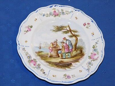 Lille 1767 French Faience Hand Painted Antique Dinner Plate E Signed E. Duc