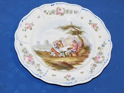 Lille 1767 French Faience Hand Painted Antique Dinner Plate F Signed E. Duc