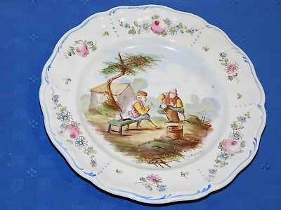 Lille 1767 French Faience Hand Painted Antique Dinner Plate G Signed E. Duc