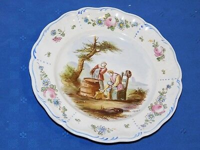 Lille 1767 French Faience Hand Painted Antique Dinner Plate H Signed E. Duc