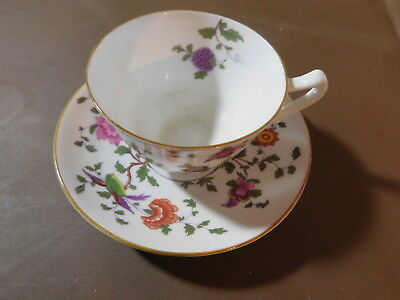 Crown Staffordshire Fine Bone China England Birds & Flowers #7120 cup & saucer