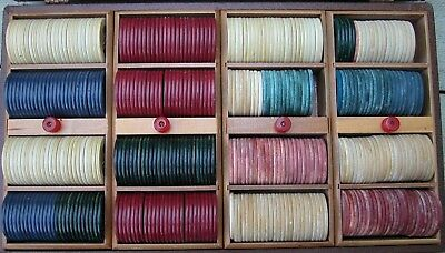 Vintage Poker Chip Case Box Approx 400 Clay & Plastic Pieces 4 Trays 6 Colors