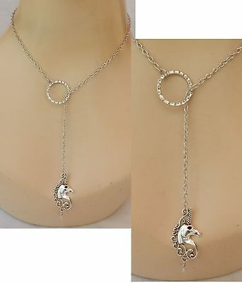 Unicorn  Necklace Lariat Y Shaped Silver Jewelry Handmade NEW Chain Adjustable