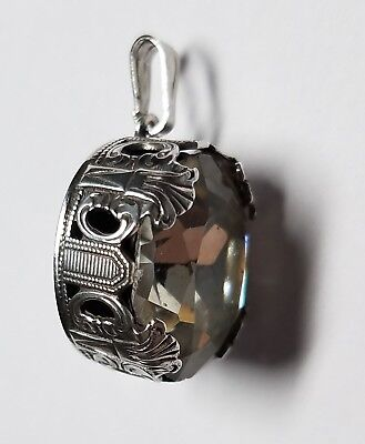 Vintage Art Deco Sterling Silver Pendant With Faceted Clear Crystal Stone