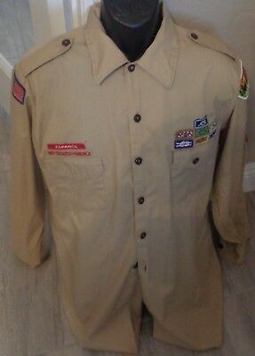 BSA Boy Scouts of America Official Shirt Mens Large Tan long sleeve