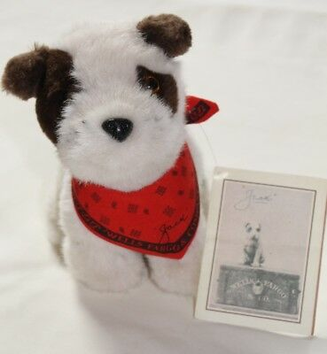1990 Wells Fargo Bank Plush Stuffed JACK Russell Dog Puppy with Tag & Red Scarf