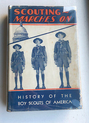 Vintage 1937 Boy Scout Scouting Marches On Book - BSA HC Scouts History Book