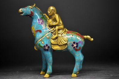 EXQUISITE CHINESE OLD CLOISONNE HAND CARVED HORSE MONKEY STATUE Statues