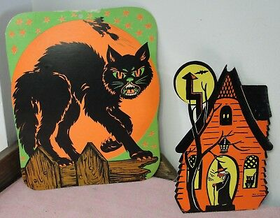 2 Vintage Paper Halloween Decorations Black Cat & Witch's House Beistle USA
