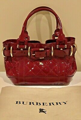 2436a30f31a9 BURBERRY RED QUILTED Patent Leather TOTE Handbag Purse Beaton Bag ...