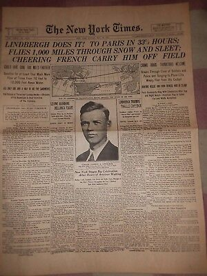 May 22 1927 New York Times Newspaper Repro Lindbergh Does It!