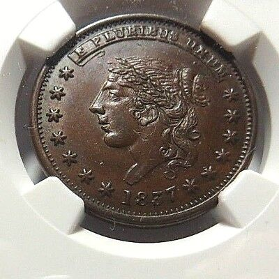 "1837 "" Clean Cheek "" "" Liberty - Not One Cent "" Ht - 48 - Low - 33 - Ngc Ms - 63"