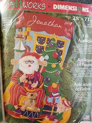 "Christmas stocking Dimensions 28"" kit felt applique 8104 santas discontinued"
