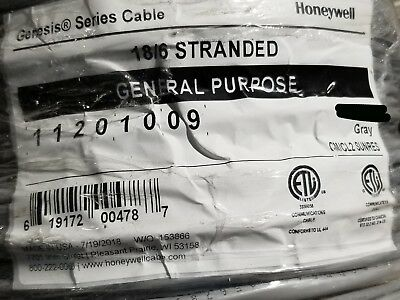 Honeywell Genesis 1120 18/6C Communication Cable Wire UV Resistant Gray /100ft