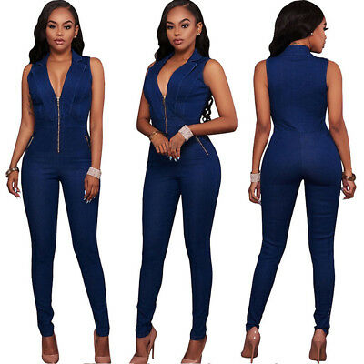 New Fashion Women Sleeveless Bodycon Cotton Denim Jumpsuit Casual Long Playsuit