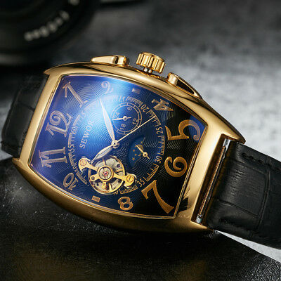 Genuine Leather Automatic Mechanical Tourbillon Mens Stainless Wrist Watch Gift