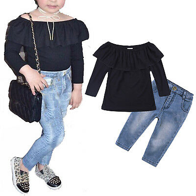 Kids Baby Girl Outfits Off Shoulder Long Sleeve Shirt Tops + Jeans Pants Clothes